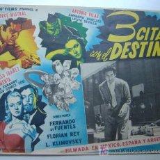 Cine: 3 CITAS CON EL DESTINO - ORIGINAL LOBBY CARD MEXICANO - JORGE MISTRAL, AMPARO RIVELLES. Lote 101361127