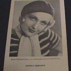 Cine: FOTOGRAFIA CAROLE LOMBARD - EDITORIAL CASTRO - MIDE 20 X 13 CMS - .. Lote 2181467