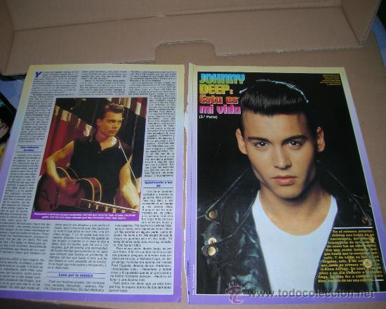 Cine: 2 Paginas con fotos (clippings) de Johnny Deep. para coleccionistas o fans. - Foto 2 - 11807528