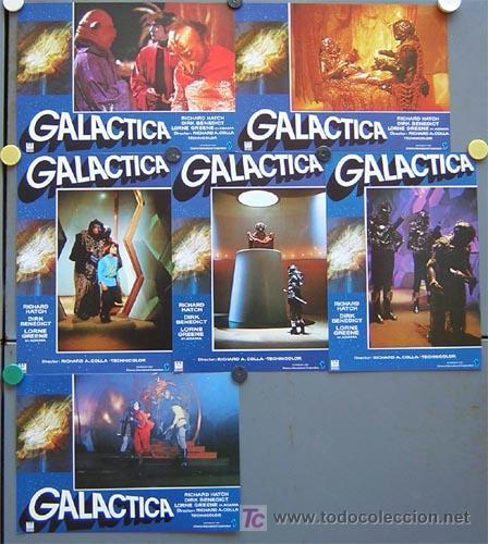 QP39D GALACTICA SERIE TV CIENCIA FICCION SET COMPLETO 12 FOTOCROMOS ORIGINAL ESTRENO (Cine - Fotos, Fotocromos y Postales de Películas)
