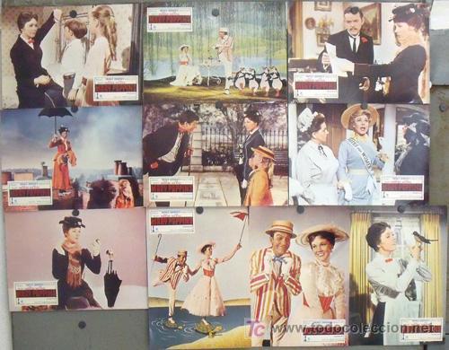 AAW37 MARY POPPINS WALT DISNEY JULIE ANDREWS SET COMPLETO 10 FOTOCROMOS ORIGINAL ESPAÑOL R-76 SCDO (Cine - Fotos, Fotocromos y Postales de Películas)