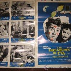 Cine: LAS TRES NOCHES DE EVA HENRY FONDA - 6 FOTOCROMOS Y POSTER ORIGINALES DE LA REPOSICION. Lote 25879698