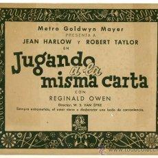Cine: JUGANDO A LA MISMA CARTA - JEAN HARLOW Y ROBERT TAYLOR - LOTE DE 10 FOTOCROMOS ORIGINALES. Lote 26307927