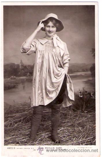 TARJETA POSTAL DE ACTORES. MISS PHYLLIS DARE. 4972D. ROTARY PHOTO. AS PEGGI IN THE DAIRYMAIDS. (Cine - Fotos y Postales de Actores y Actrices)