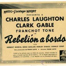Cine: LOTE DE 5 FOTOCROMOS DE REBELION A BORDO - CLARK GABLE, C.LAUGHTON , F. TONE. Lote 27715718