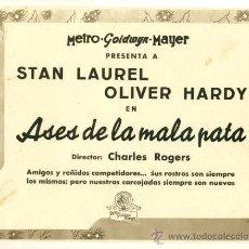 Cine: LOTE DE 6 FOTOCROMO DE LA METRO GOLDWYN MAYER - ASES DE LA MALA PATA - STAN LAUREL OLIVER HARDY. Lote 27715843