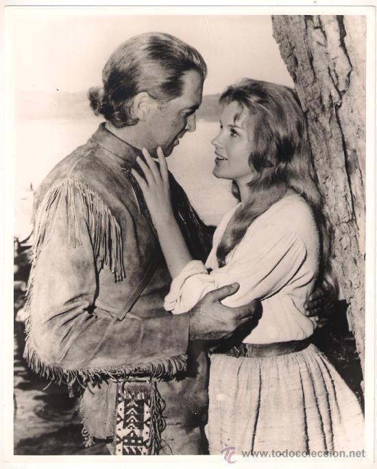 F6833 JAMES STEWART CARROLL BAKER LA CONQUISTA DEL OESTE FOTO B/N ORIGINAL ESPAÑOLA (Cine - Fotos y Postales de Actores y Actrices)