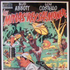 Cinema: POSTAL SERIE SPANISH POSTERS 15X10,5 CM Nº 44, LAS MINAS DEL REY SALMONETE,ABBOTT,COSTELO. Lote 35061698