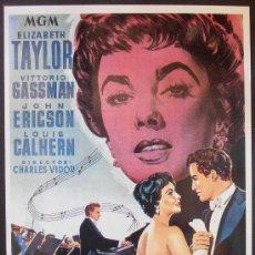 Cinema: POSTAL SERIE SPANISH POSTERS 15X10,5 CM Nº 62, RAPSODIA,ELIZABETH TAYLOR,VITTORIO GASSMAN. Lote 35068316