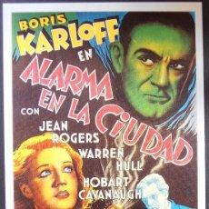 Cinema: POSTAL SERIE SPANISH POSTERS 15X10,5 CM Nº 251, ALARMA EN LA CIUDAD,BORIS KARLOFF,JEAN ROGERS . Lote 35215745