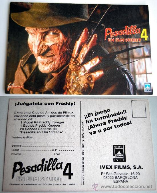 POSTAL PESADILLA EN ELM STREET 4 1989 FREDDY KRUEGER TENDO 2 DISEÑOS MAS DE PESADILLA 4 EN MIS LOTES (Cine - Fotos, Fotocromos y Postales de Películas)