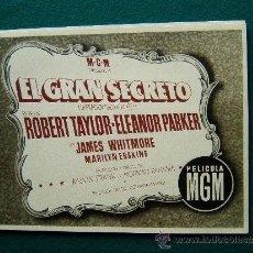 Cine: EL GRAN SECRETO - MELVIN FRANK - ROBERT TAYLOR - ELEANOR PARKER - 11 FOTOS - NO COMPLETA - FALTA 1 . Lote 35449088