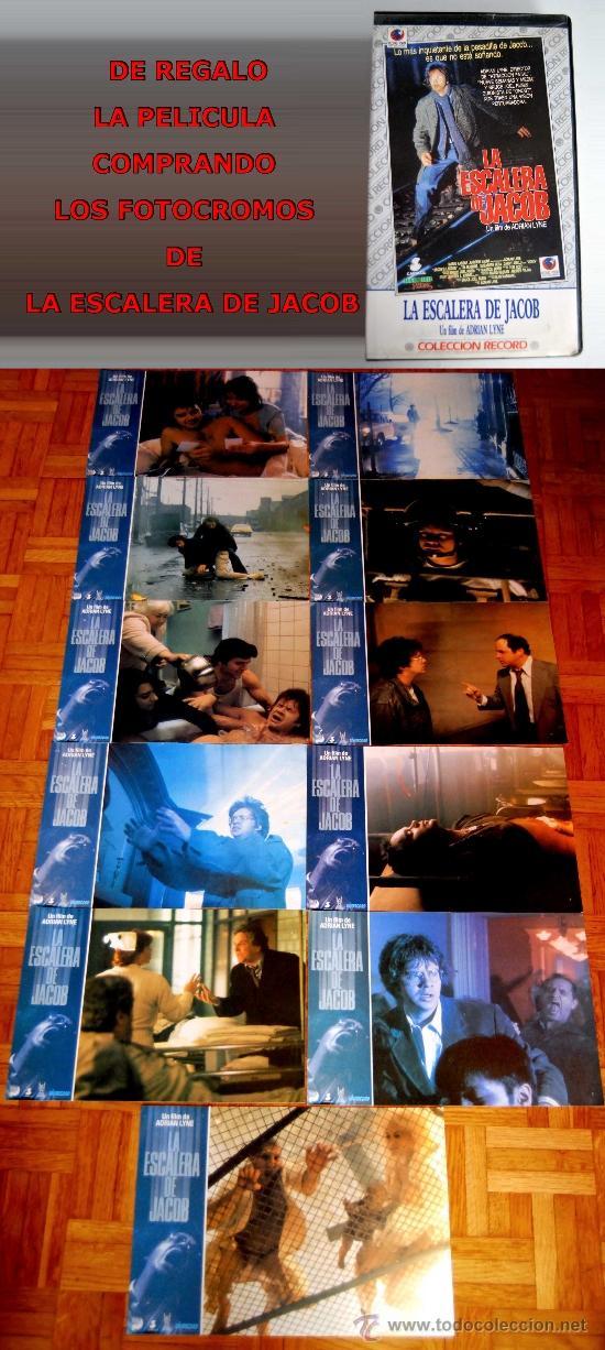 11 FOTOCROMOS FOTOCROMO DE LA ESCALERA DE JACOB Y DE REGALO LA PELICULA EN VHS DE ADRIAN LYNE (Cine - Fotos, Fotocromos y Postales de Películas)