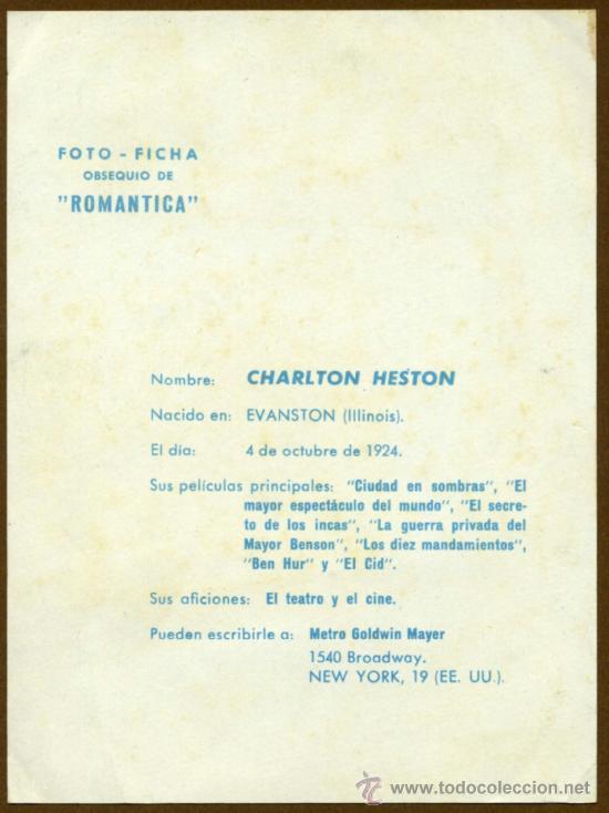 Cine: Foto Ficha - CHARLTON HESTON - Foto 2 - 36596687