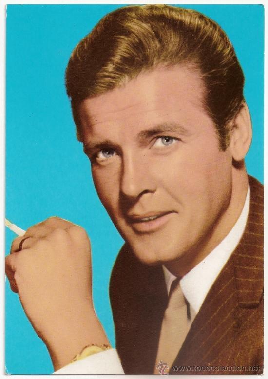 FOTO POSTAL DE ROGER MOORE SERIE T.V. EL SANTO AÑOS 60 (Cine - Fotos y Postales de Actores y Actrices)