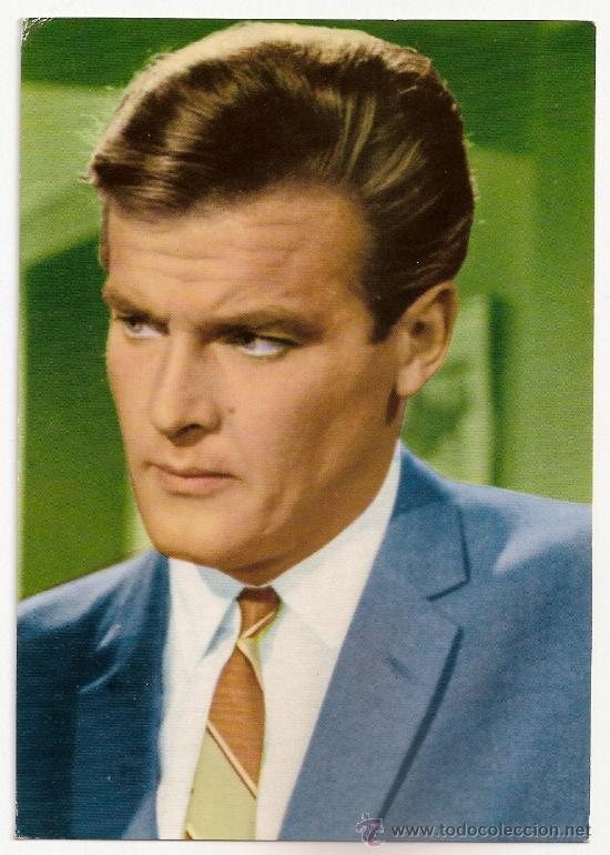 FOTO POSTAL DE ROGER MOORE EL SANTO EN TV AÑOS 60 (Cine - Fotos y Postales de Actores y Actrices)