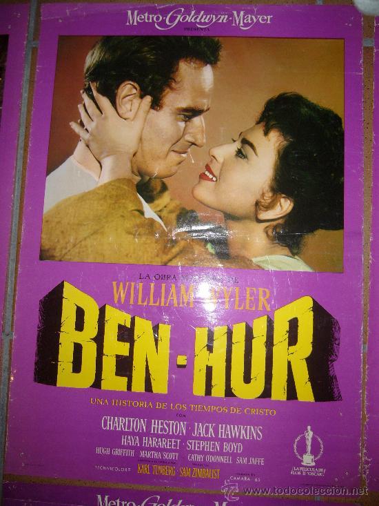 BEN-HUR CHARLTON HESTON WILLIAM WYLER FOTOCROMO ORIGINAL DEL ESTRENO 34X48 CM (Cine - Fotos, Fotocromos y Postales de Películas)