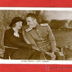 Cine: GRETA GARBO Y JOHN GILBERT ACTOR CINE - POSTAL ANTIGUA. Lote 39252886