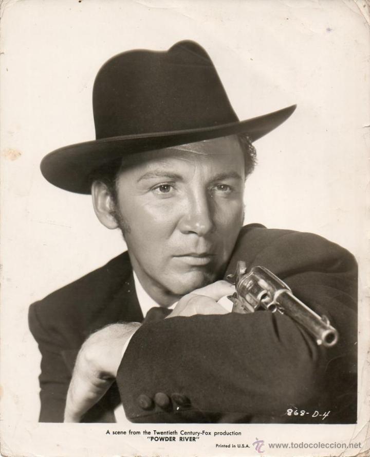 FOTOGRAFÍA ORIGINAL CAMERON MITCHELL POWDER RIVER LOUIS KING 1953 IMPRESO EN ESTADOS UNIDOS (Cine - Fotos y Postales de Actores y Actrices)