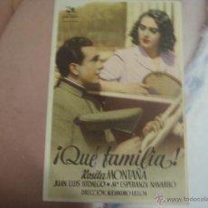 Cine: FOLLETO DE MANO QUE FAMILIA TEATRO LICEO ESTRENO. Lote 40525621