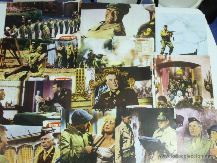 JUEGO DE 12 FOTO-CROMOS DE DOCE DEL PATÍBULO , LEE MARVIN, ERNEST BORGNINE, CHARLES BRONSON,.... (Cine - Fotos, Fotocromos y Postales de Películas)