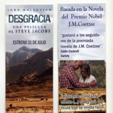Cine: DESGRACIA, CON JOHN MALKOVICH. MARCAPÁGINAS.. Lote 277648283