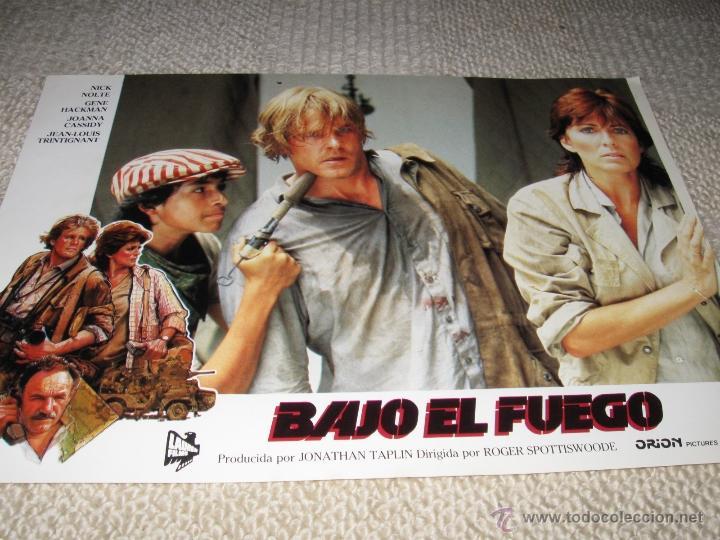 BAJO EL FUEGO, NICK NOLTE, GENE HACKMAN, JEAN LOUIS TRINTIGNANT 9 FOTOCROMOS, LOBBY CARDS (Cine - Fotos, Fotocromos y Postales de Películas)