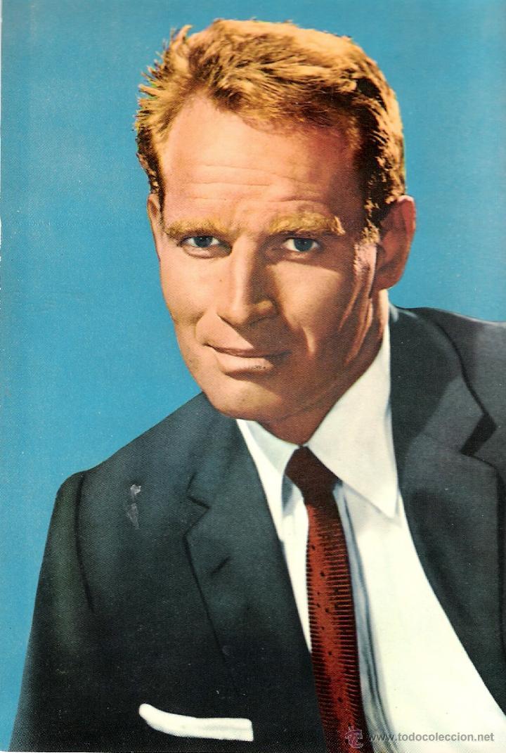 CHARLTON HESTON POSTAL ORIGINAL AÑOS 60 COLOR (Cine - Fotos y Postales de Actores y Actrices)