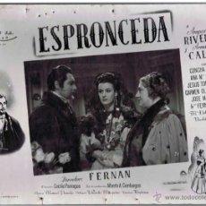 Cine: ESPRONCEDA. CARTELERA DE CARTÓN DE LESTRENO EN 1945. CON AMPARO RIVELLES Y ARMANDO CALVO. FOTOCROMO. Lote 45353335