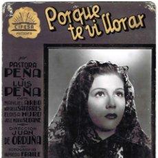 Cine: PORQUE TE VI LLORAR. CARTELERA DE CARTÓN DURO. FOTOCROMO DEL ESTRENO EN ÁVILA 1941. CON PASTORA PEÑA. Lote 45368569