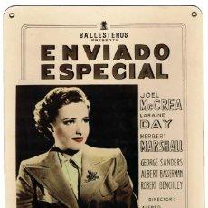 Cine: ENVIADO ESPECIAL. CARTELERA DE CARTÓN ORIGINAL DEL ESTRENO DE HITCHCOCK EN ÁVILA EN 1942. Lote 45420763