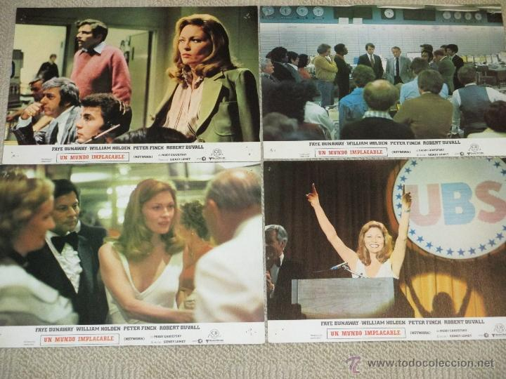 NETWORK, UN MUNDO IMPLACABLE, FAYE DUNAWAY, WILLIAM HOLDEN, ROBERT DUVALL 12 FOTOCROMOS LOBBY CARDS (Cine - Fotos, Fotocromos y Postales de Películas)