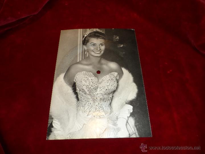 RARA POSTAL, FOTOGRAFÍA Y DISCO, SOPHIA LOREN, CON EL TEMA - MAMBO BACÁN- AÑO 1955 segunda mano