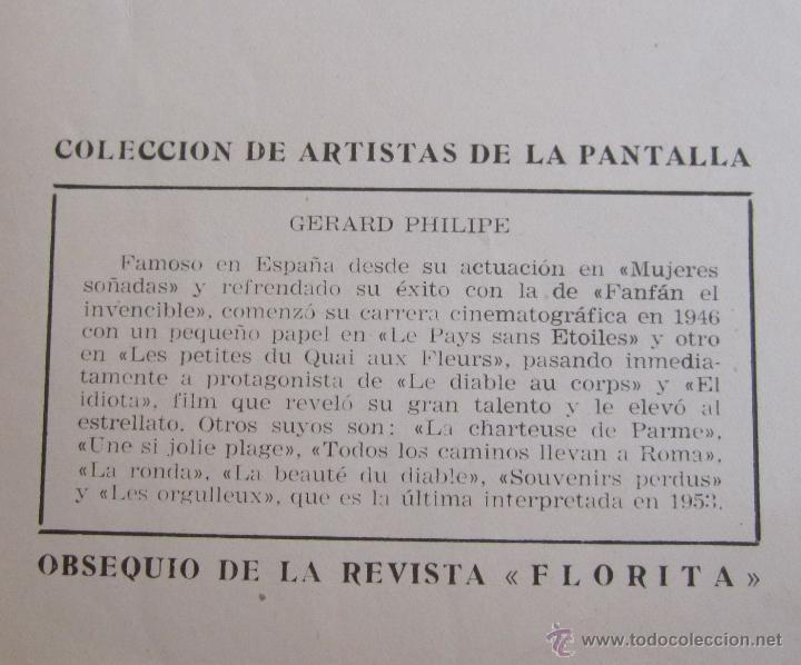 Cine: 105 fotos. ARTISTAS DE LA PANTALLA. OBSEQUIO REVISTA FLORITA. 17 X 12 CM - Foto 2 - 50036209