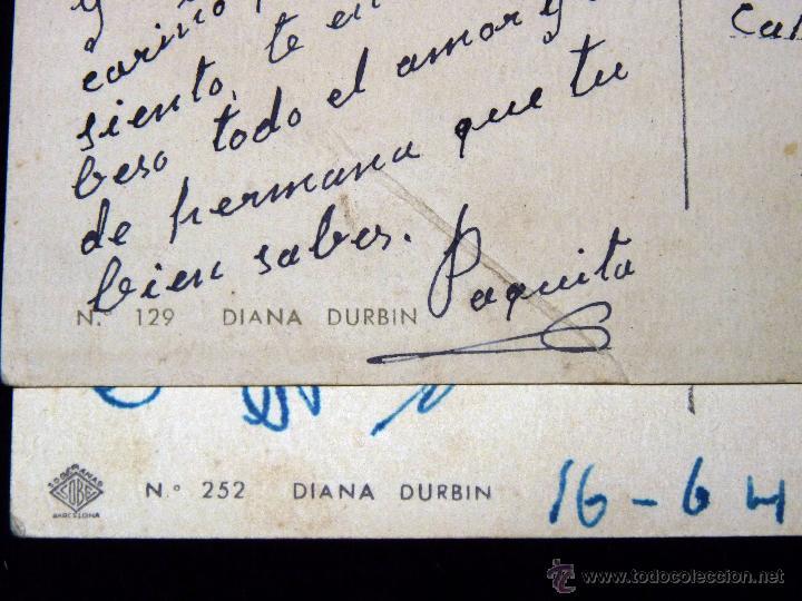 Cine: LOTE DE 2 POSTALES DE LA ACTRIZ Y CANTANTE DIANA DURBIN, NÚM. 129 Y 252, AÑOS 40 - Foto 3 - 53157714