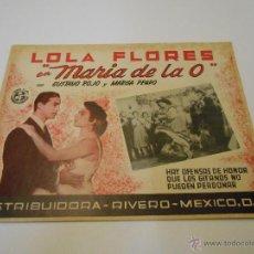 Cine: MARIA DE LA O - CON LOLA FLORES - FOTOCROMO LOBBY CARD - MINI POSTER. Lote 53772787