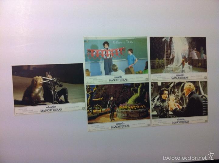 LOTE 5 FOTOCROMOS EDUARDO MANOSTIJERAS LOBBY CARDS TIM BURTON (Cine - Fotos, Fotocromos y Postales de Películas)