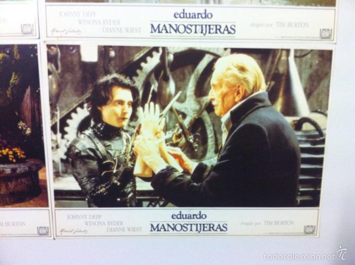 Cine: Lote 5 fotocromos EDUARDO MANOSTIJERAS lobby cards Tim burton - Foto 4 - 55111453
