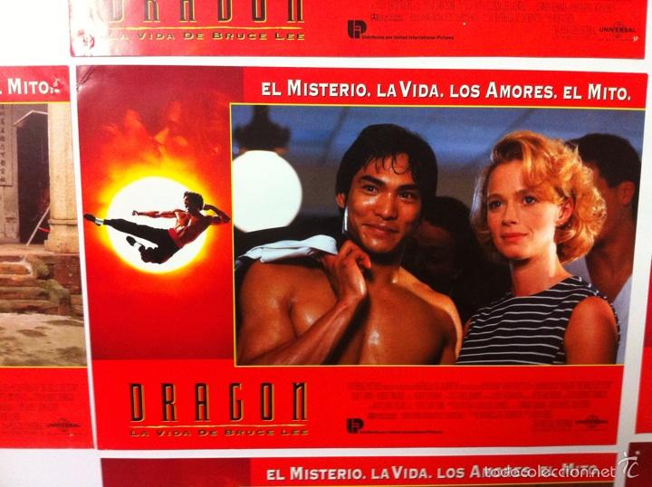 Cine: Lote 7 fotocromos DRAGON LA VIDA DE BRUCE LEE lobby cards - Foto 4 - 55376699