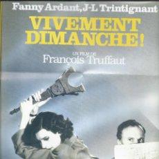 Cine: 8739- MINI CARTEL DEL FILM: VIVAMENTE EL DOMINGO-DE F.TRUFFAUT. Lote 55851982