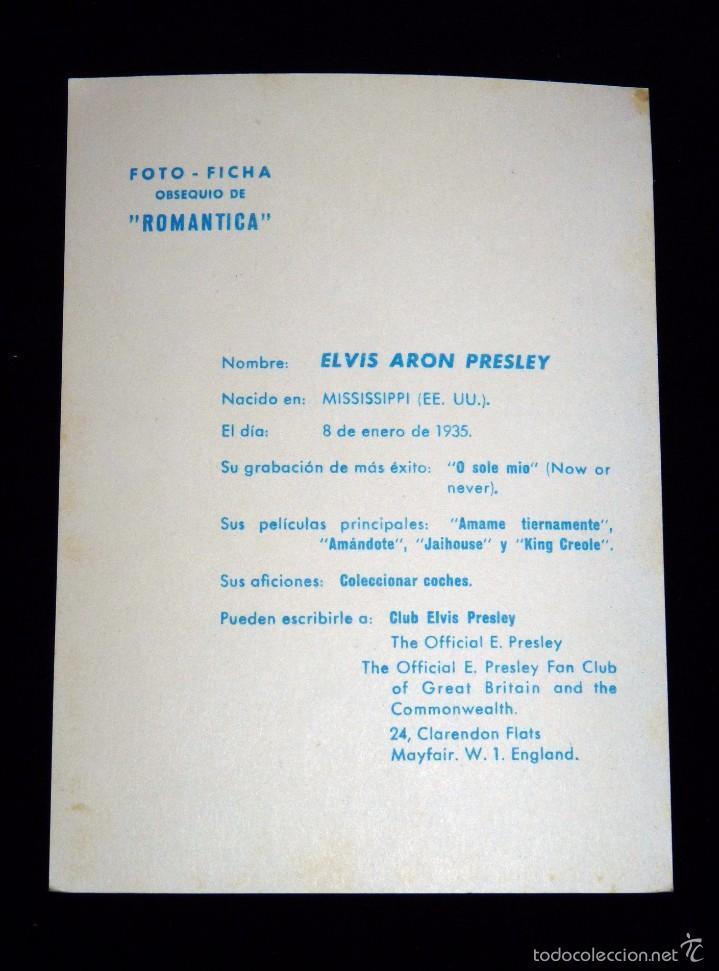Cine: ELVIS ARON PRESLEY. FICHA OBSEQUIO DE LA REVISTA ROMÁNTICA. AÑOS 60 - Foto 2 - 56265375