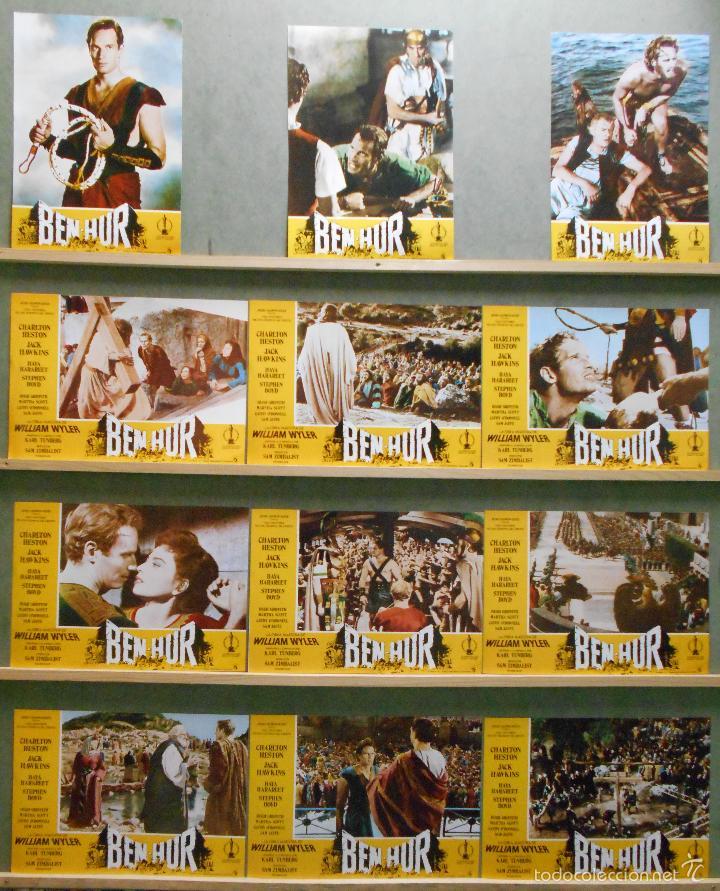WU60 BEN HUR CHARLTON HESTON WILLIAM WYLER GANADORA OSCAR SET COMPLETO 12 FOTOCROMOS ORIG ESPAÑOL (Cine - Fotos, Fotocromos y Postales de Películas)