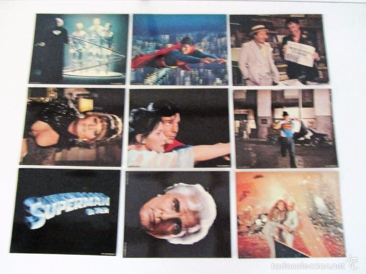 SUPERMAN EL FILM, 1978, WARNER ESPAÑOLA, 9 FOTOCROMOS ORIGINALES 28 X 35,5 CMS. (Cine - Fotos, Fotocromos y Postales de Películas)