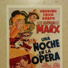 Cine: POSTAL 10*15 - UNA NOCHE EN LA OPERA - LOS HERMANOS MARX. Lote 101111944