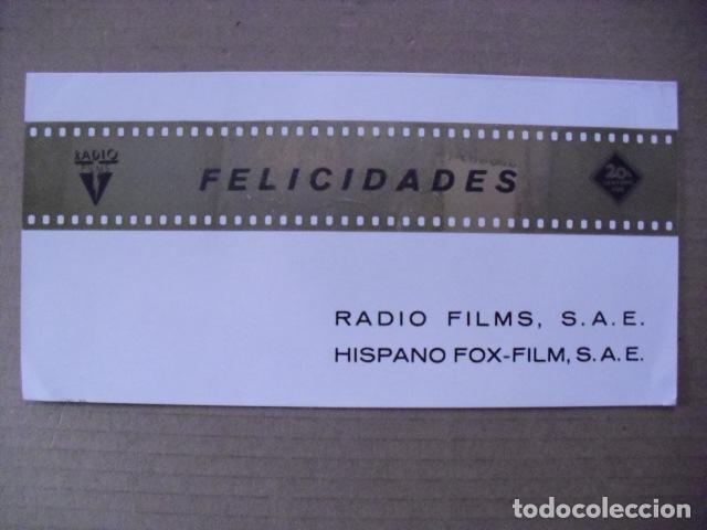 FELICITACION NAVIDAD RADIO FILMS Y HISPANO FOX 1968. (Cine - Fotos, Fotocromos y Postales de Películas)