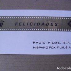 Cine: FELICITACION NAVIDAD RADIO FILMS Y HISPANO FOX 1968.. Lote 66486874