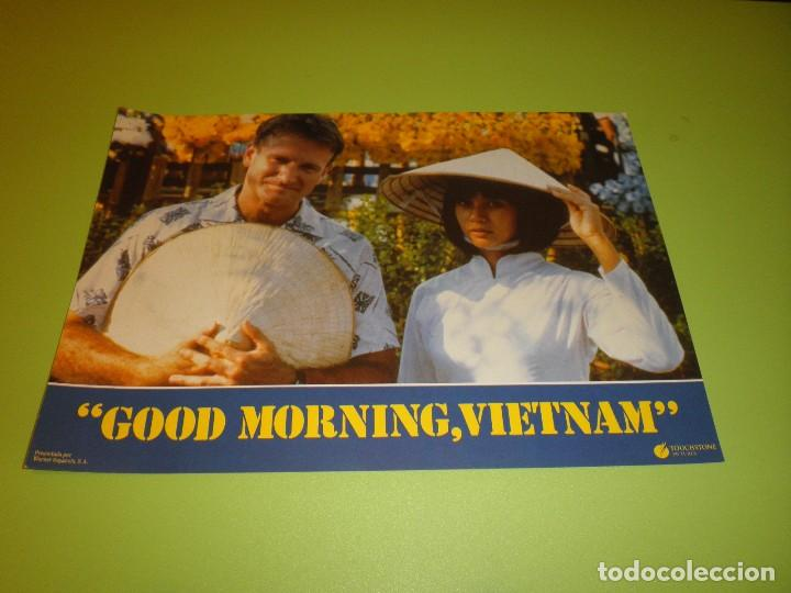 LOTE 12 FOTOCROMOS GOOD MORNING VIETNAM BARRY LEVINSON ROBIN WILLIAMS FOREST WHITAKER FOTOCROMO CINE (Cine - Fotos, Fotocromos y Postales de Películas)