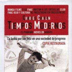 Cine: TIEMPOS MODERNOS, CON CHARLES CHAPLIN. PREESTRENO. SOBRE 10 X 21 CMS.. S/I.. Lote 68766281