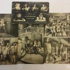 Cine: LOS TRES MOSQUETEROS. LOTE DE 6 POSTALES. CINE MUDO. ORIGINALES AÑOS 1910S. Lote 71257087