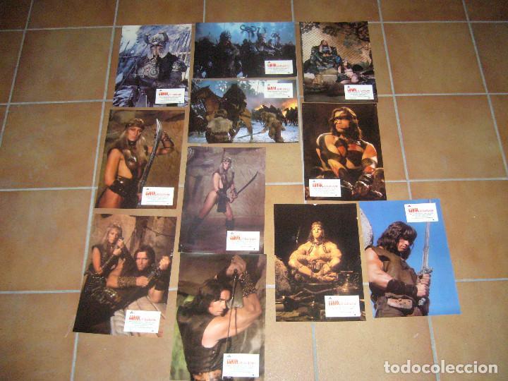 CONAN EL BARBARO ARNOLD SCHWARZENEGGER 11 FOTOCROMOS ORIGINALES DEL ESTRENO (Cine - Fotos, Fotocromos y Postales de Películas)